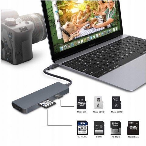 4Apple.pl HUB Adapter USB-C 3x USB 3.0 HDMI 4K SD PB Mac MacBook