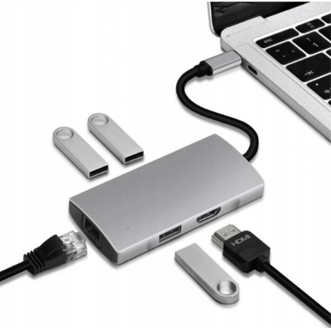 4Apple.pl HUB Adapter USB-C LAN USB HDMI 4K HP Dell Lenovo
