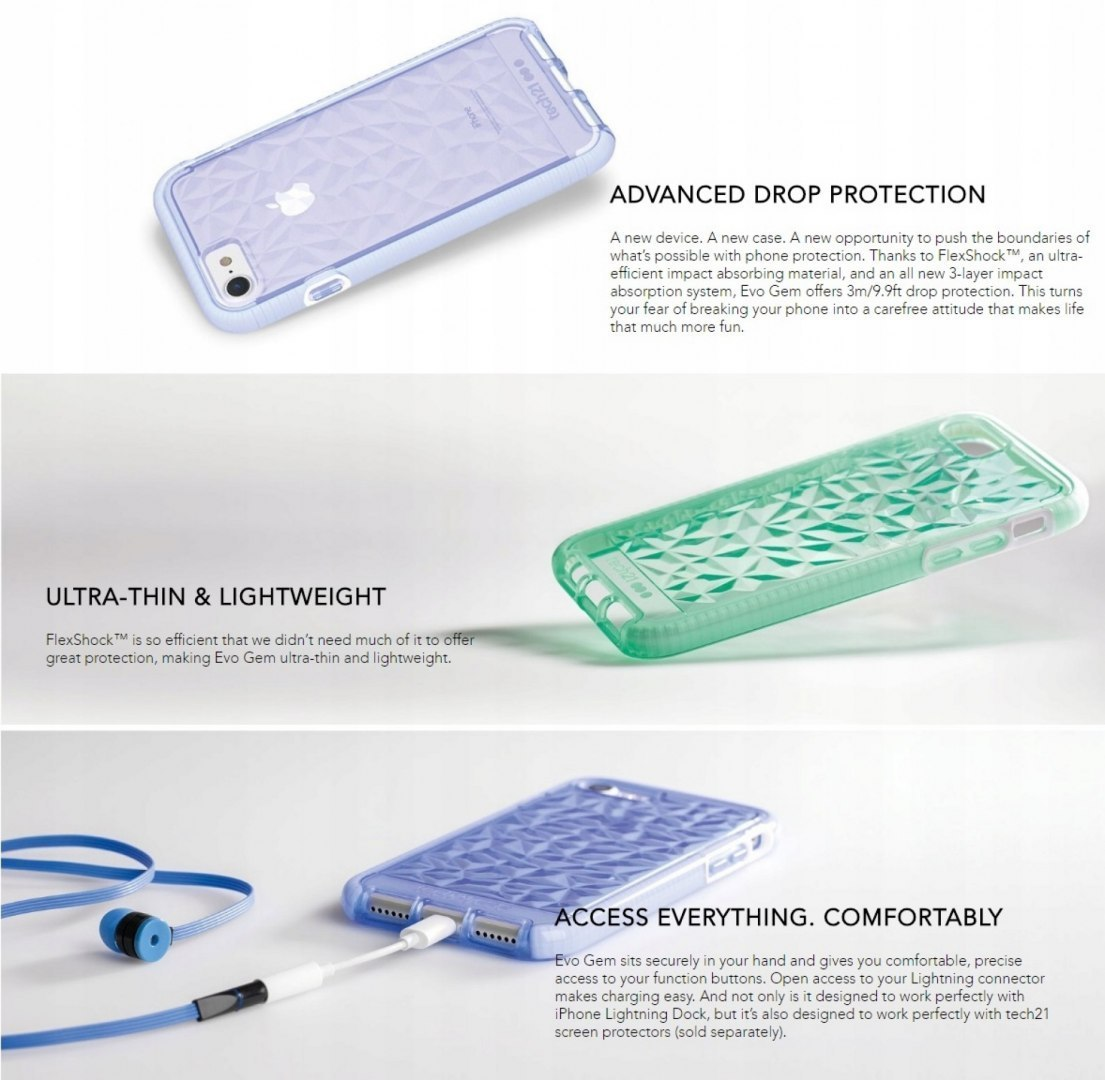 Tech21 Evo Gem Etui Case Pokrowiec iPhone 7 8