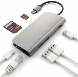 4Apple.pl HUB Adapter USB-C 8w1 USB 3.0 LAN HDMI Czytnik kart